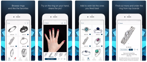 App Store screens shop4rings try on