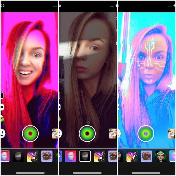 Face filters in AR video editor Sloy